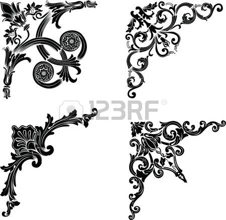 filigree: Set Of Four One Color Corners. Elements Of Design. Illustration