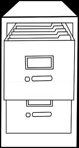 Filing cabinet line art vector image