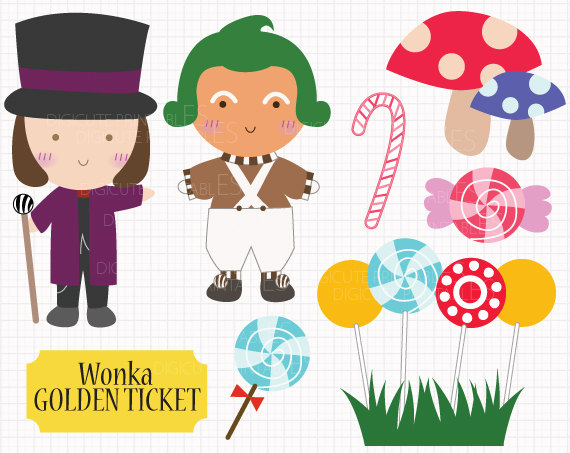 Film Inspired Willy Wonka and the Chocolate Factory Digital CLIP ARTS personal commercial use for invitation, cupcake topper, party supplies