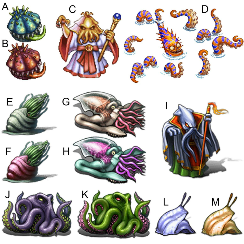 Mollusk foes from Final Fantasy IV and V (sprites from the mobile versions  of both