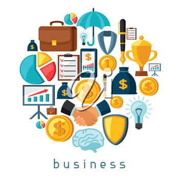 Business and finance concept from flat icons in shape.