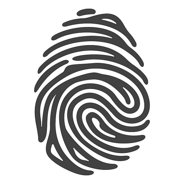 black fingerprint vector art illustration