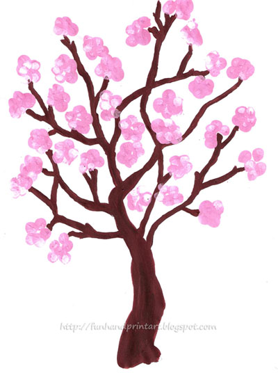 Fingerprint Spring Cherry Blossom Tree Fun Handprint Art