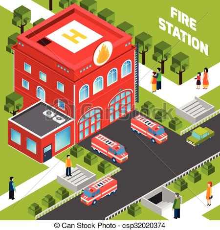 ... Fire Department Building Isometric C-... Fire Department Building Isometric Concept - Design concept.-8