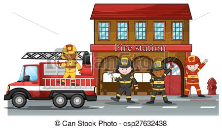 ... Fire station - Firefighters working at the fire station