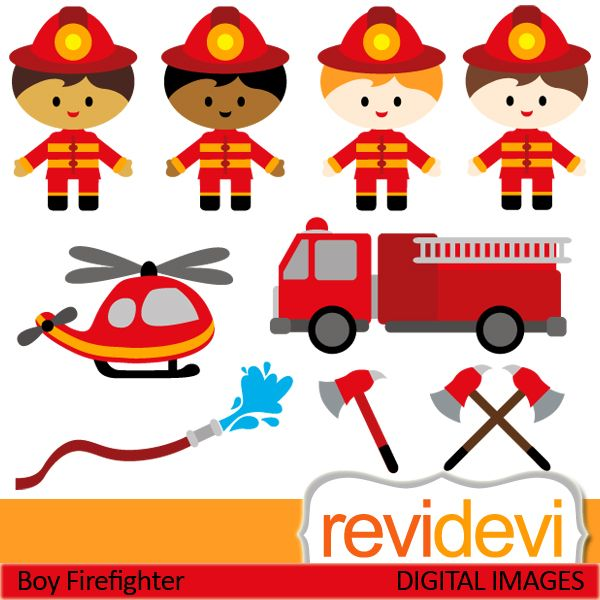 Firefighter cliparts. Boys in firefighter costume, and transportation. These digital images are great