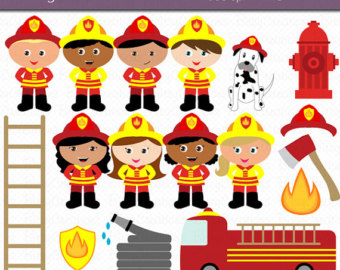 Firefighter Kids Digital Art Set Clipart-Firefighter Kids Digital Art Set Clipart Commercial Use Clip Art INSTANT Download Fireman Clipart Firemen Clipart Girl Firefighters-5