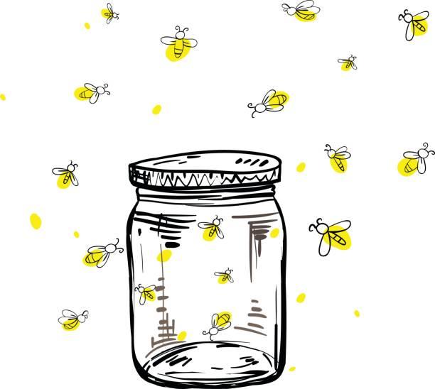 fireflies flying around the jar vector art illustration
