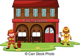 ... Firemen working at the fire station illustration