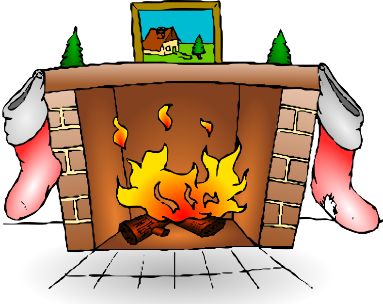 Fireplace Christmas Card With Fireplace Christmas Fireplace Clipart