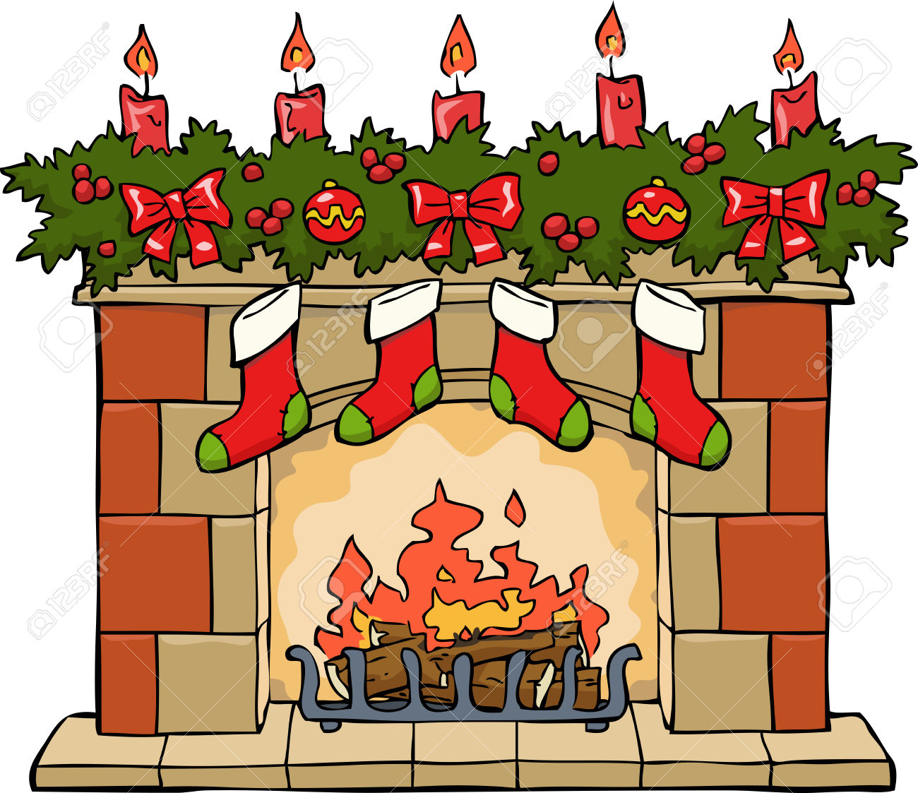 fireplace: Fireplace in Christmas on a white background vector