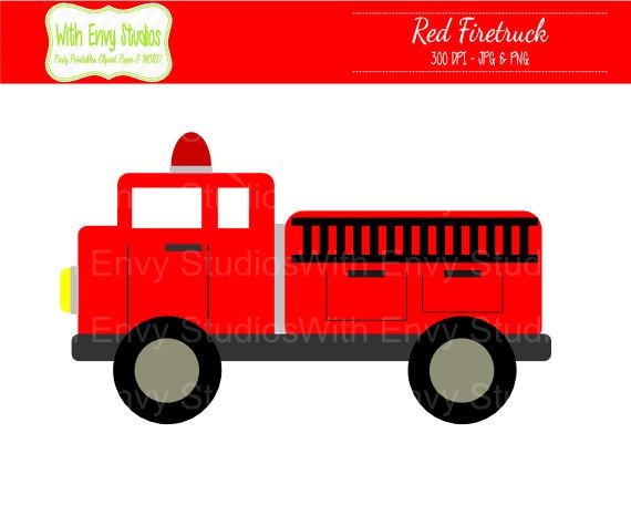 Firetruck Digital Clipart .