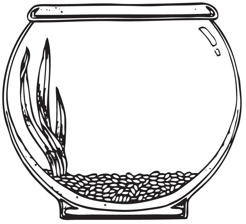 Fish Bowl Coloring Page Fish  - Fish Bowl Clipart