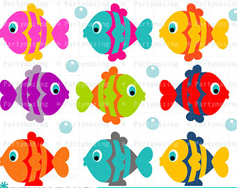 Fish ClipArt Set, Colorful Cute Fish Clipart Set, Under the sea, Instant download D218