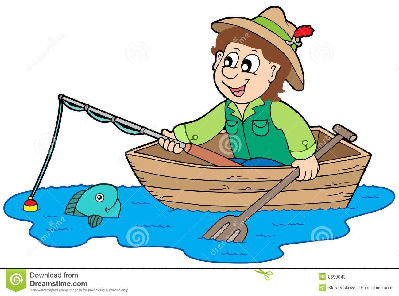 Fisherman in boat Stock Photos
