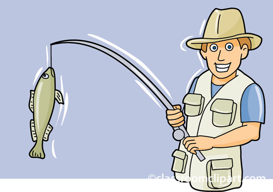 Fishing Fisherman Fish On Reel Classroom Clipart