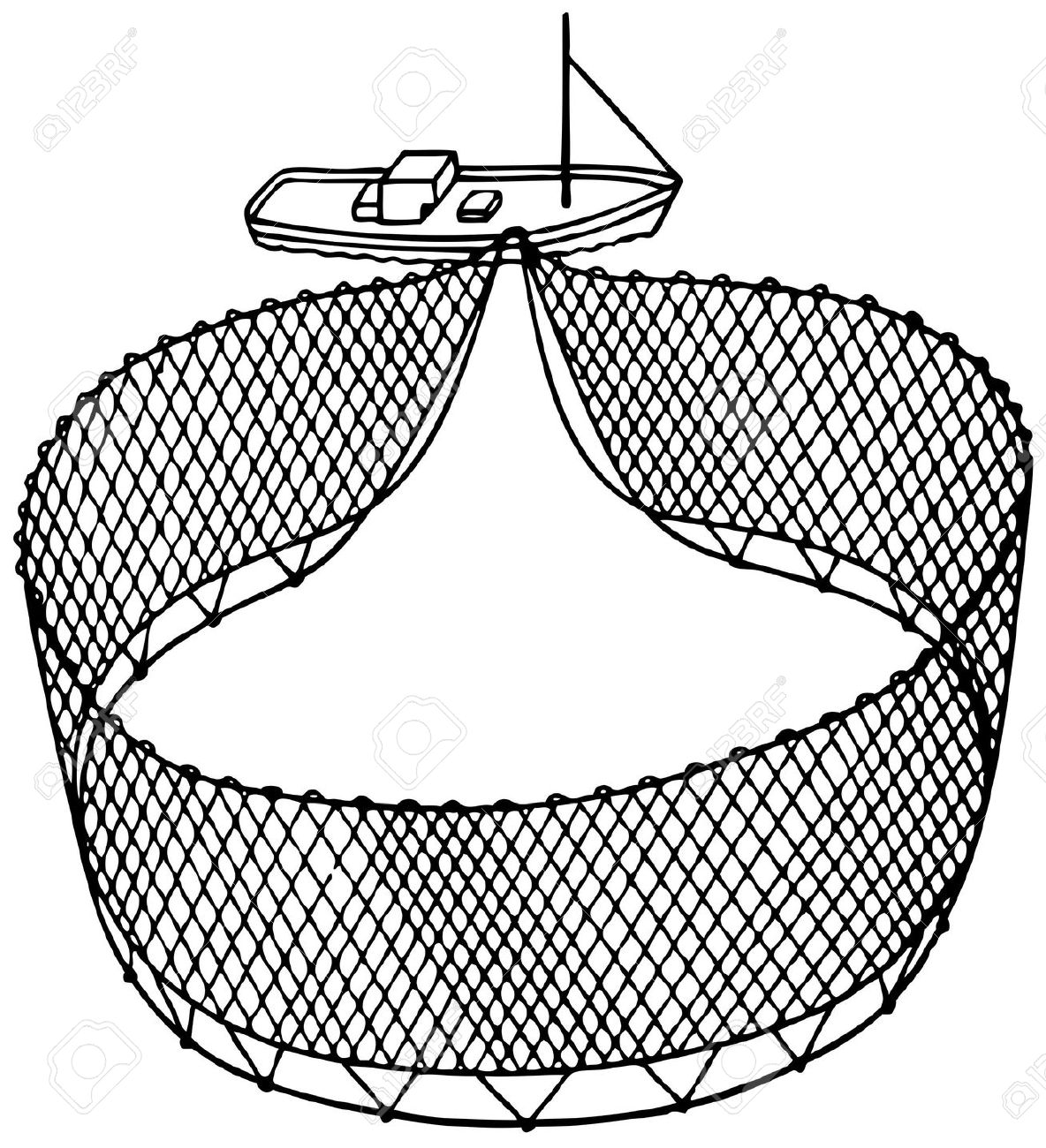 Fishing Net Clipart Black And White. Boa-Fishing Net Clipart Black And White. Boat fishnet on white .-13