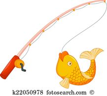 Fishing pole with hook and fish