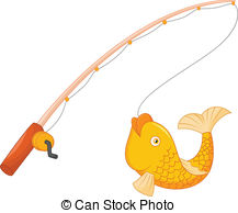 ... Fishing Pole With Hook And Fish - Ve-... Fishing pole with hook and fish - vector illustration of.-13