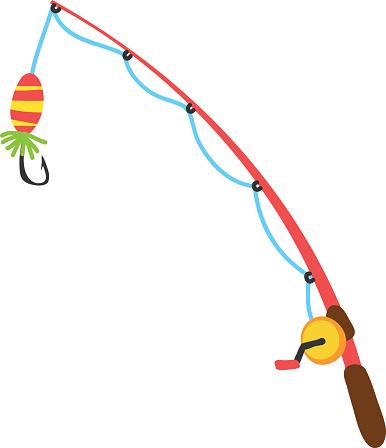 Bent fishing pole clipart - C