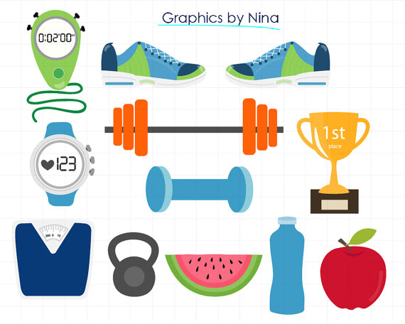 INSTANT DOWNLOAD Gym clipart,Fitness Clipart for Personal and Commercial  Use from Ninasdesignstudio on Etsy Studio