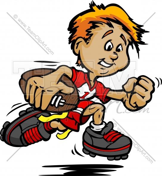 Flag Football Cartoon Kid .-Flag Football Cartoon Kid .-1