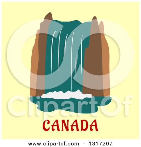 Flat Design Of Niagara Falls Over Canada Text On Yellow by Vector Tradition  SM