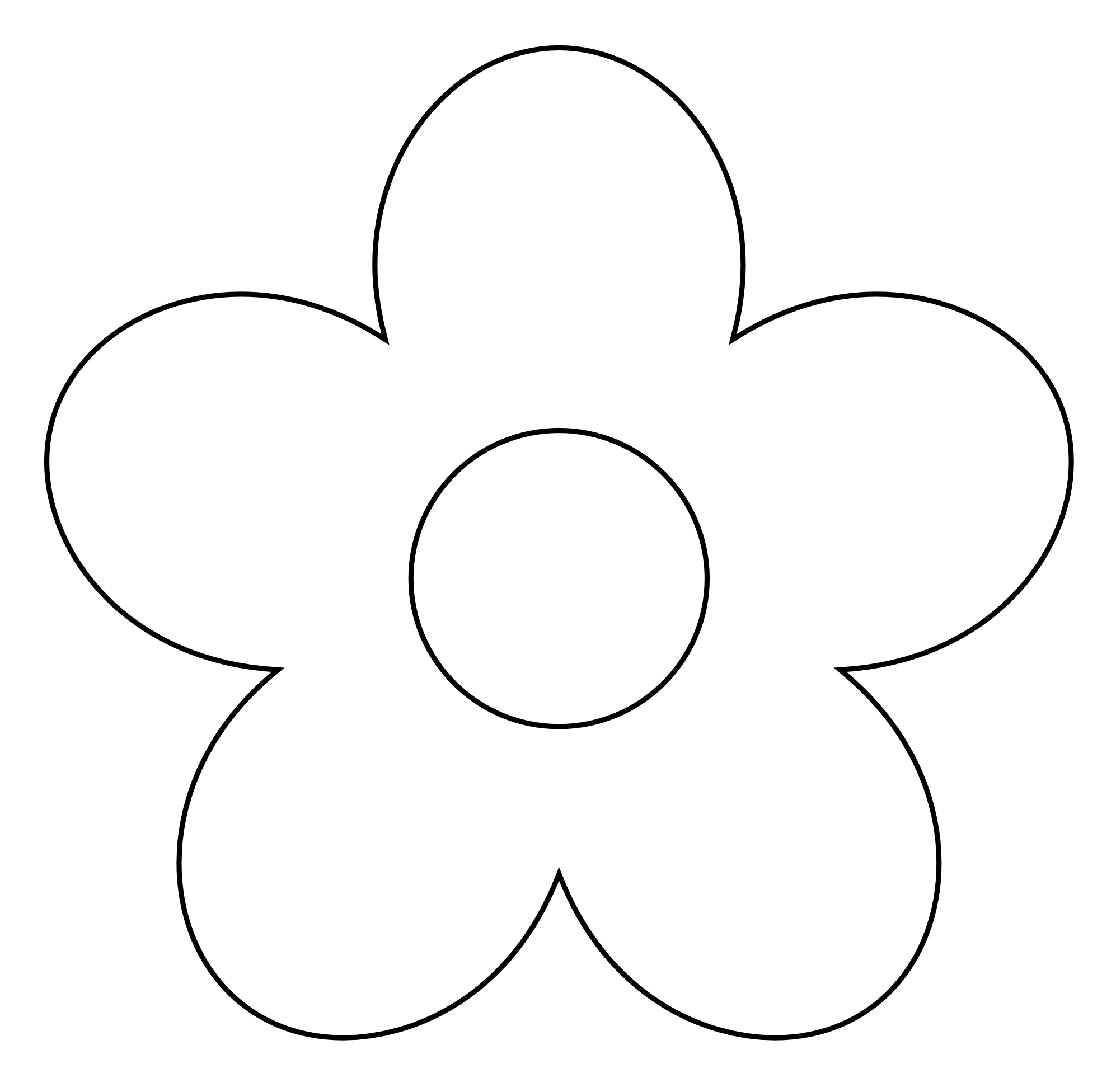 flower clipart black and whit