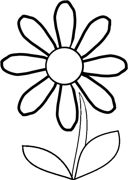 flower stem clipart black and - Black And White Flower Clipart