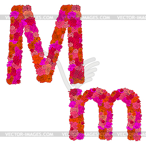 Flower alphabet of red roses, characters M-m - vector clip art