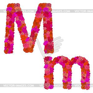 Flower Alphabet Of Red Roses, Characters-Flower alphabet of red roses, characters M-m - vector clip art-7