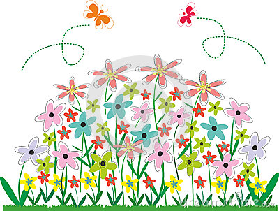 Flower Bed Clipart Abstract V - Flower Garden Clipart