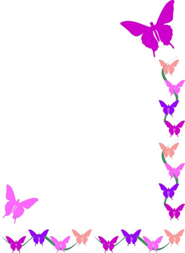 Flower border free butterfly .