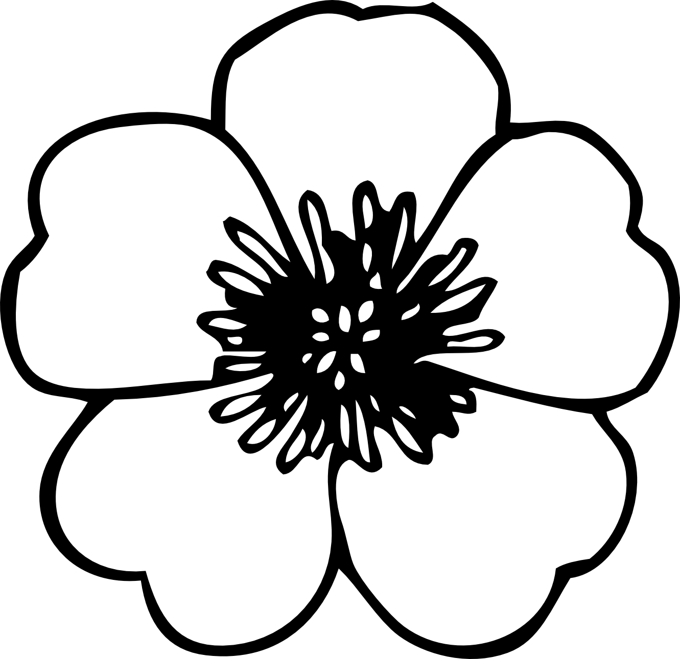 Flower Clipart Black And White #13537