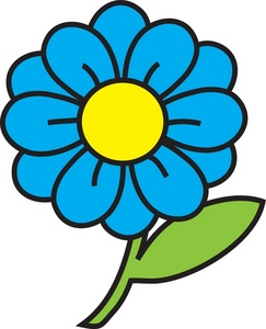 Flower Clipart Image: clip art illustration of a blue flower with a green  stem