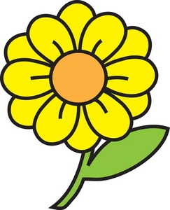 Flower Clipart Image: clip art image of a bright yellow flower