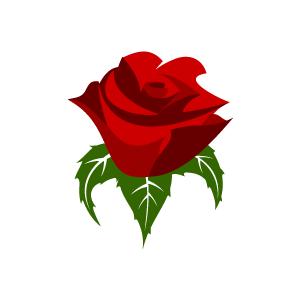 Flower Clipart - Red Rose .-Flower Clipart - Red Rose .-4