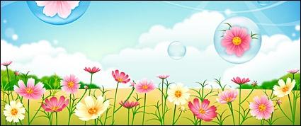 Flower garden background clipart