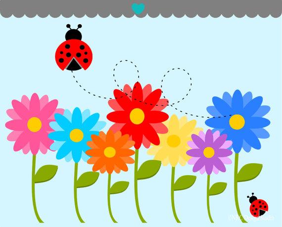 flower GARDEN clip art | Garden Clip Art - Spring Flowers Clip Art - Digital Flowers