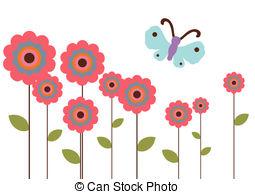 Flower Garden Clipartby jpegwiz0/8; Flower Garden - Flower garden with blue butterfly.