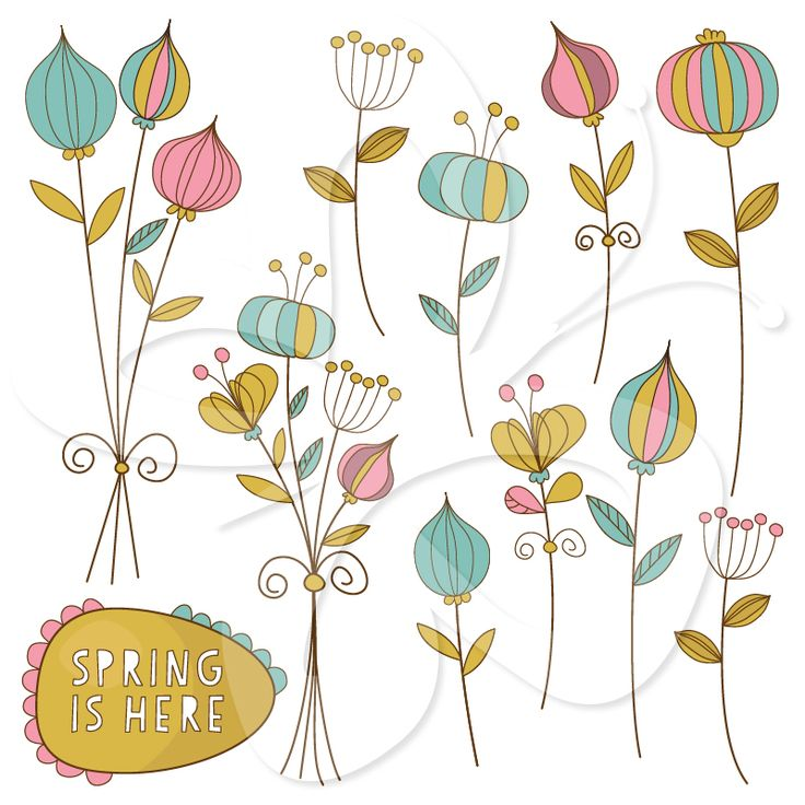 flowers and Clip art on . - Whimsical Clip Art