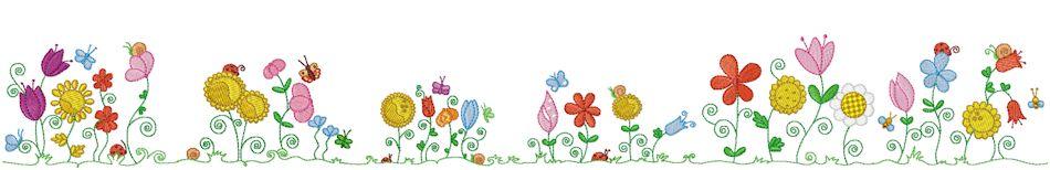 Flowers border; Beautifull Green Flower border; Spring Flowers Border Clipart .