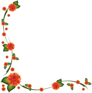 Flowers Clipart Image Orange Dahlia Flowers Forming A Border