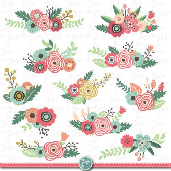 Flowers Clipart Pack Flower Clip Art Packvintage Flowersspring