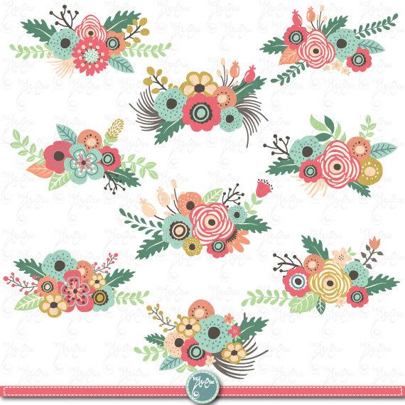 Flowers Clipart pack u0026quot;FLOWER CLIP ARTu0026quot; pack, Vintage Flowers, Spring Flower,