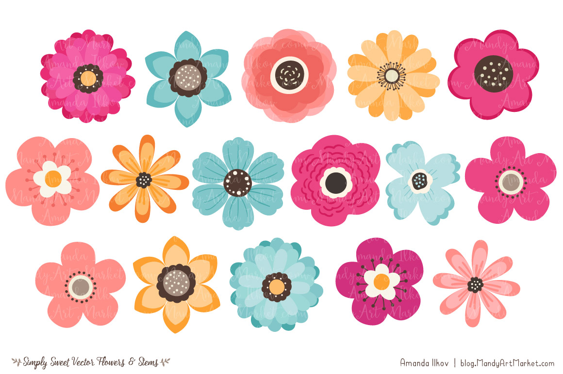 Simply Sweet Vector Flowers u0026 Stems Clipart in Bohemian by Amanda Ilkov |  TheHungryJPEG clipartlook.com