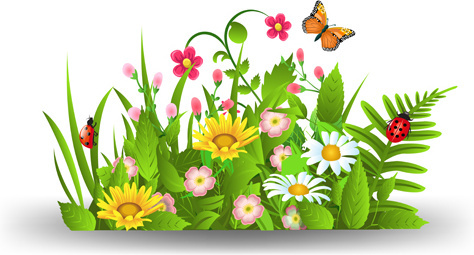 spring flower with grass art background