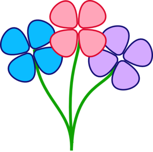 Three Pretty Flowers Clip Art