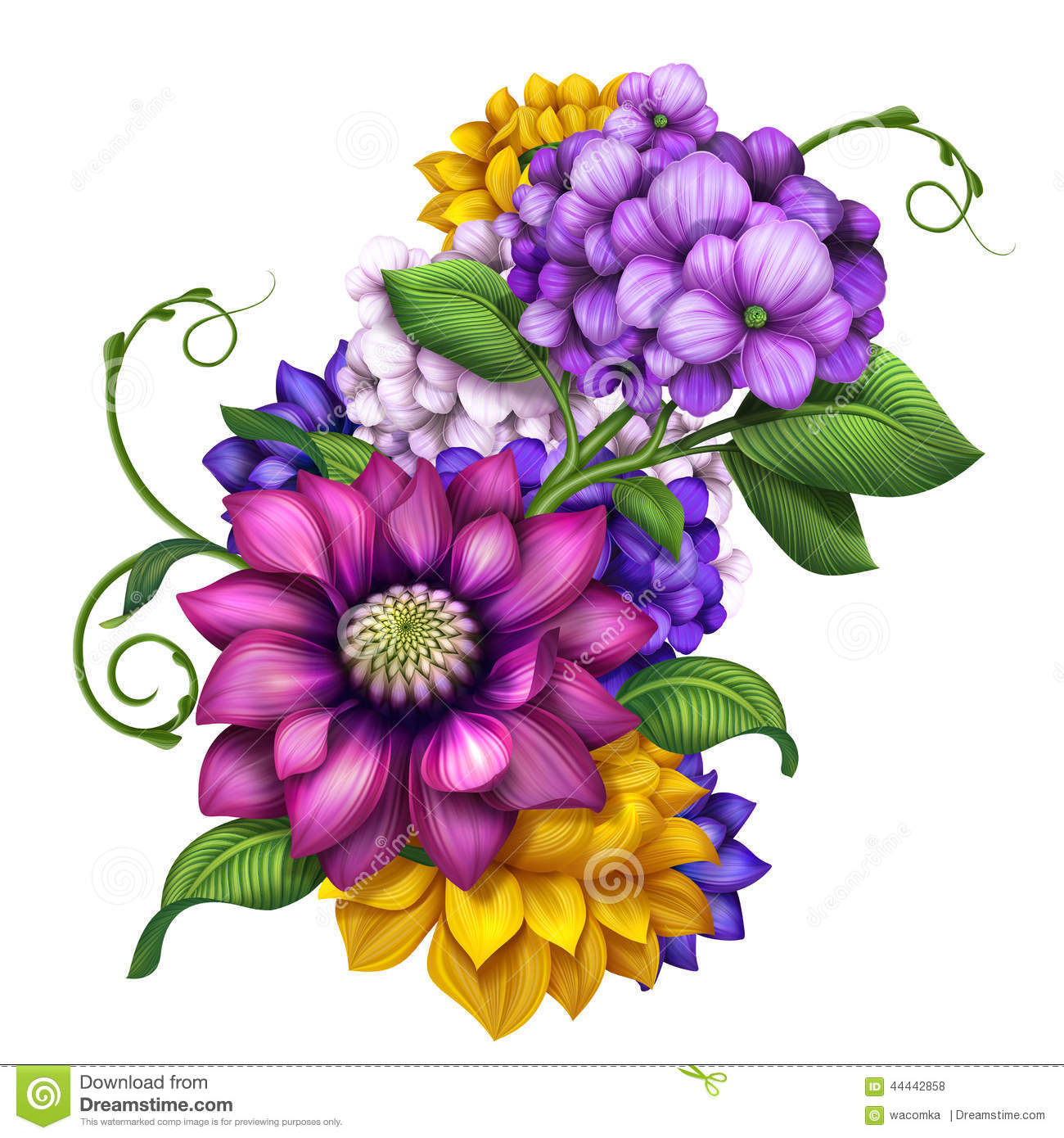 assorted colorful autumn flowers clip art illustration