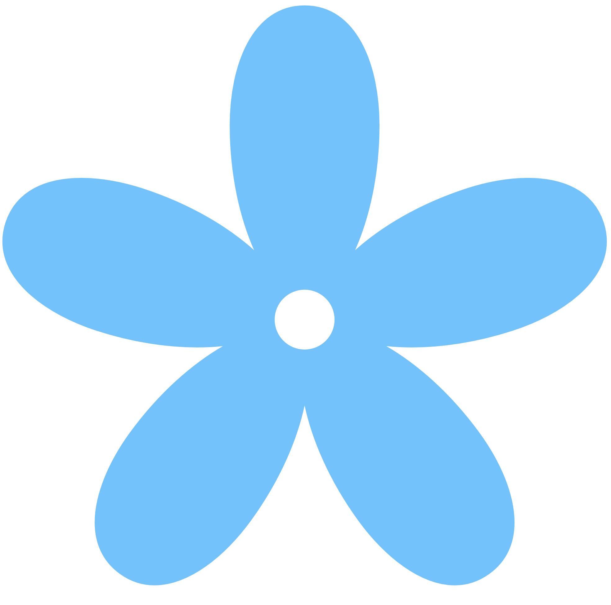 Blue color clipart: Retro Flower 8 Color Colour